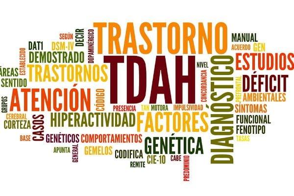TDAH, nube de palabras relacionadas con este trastorno